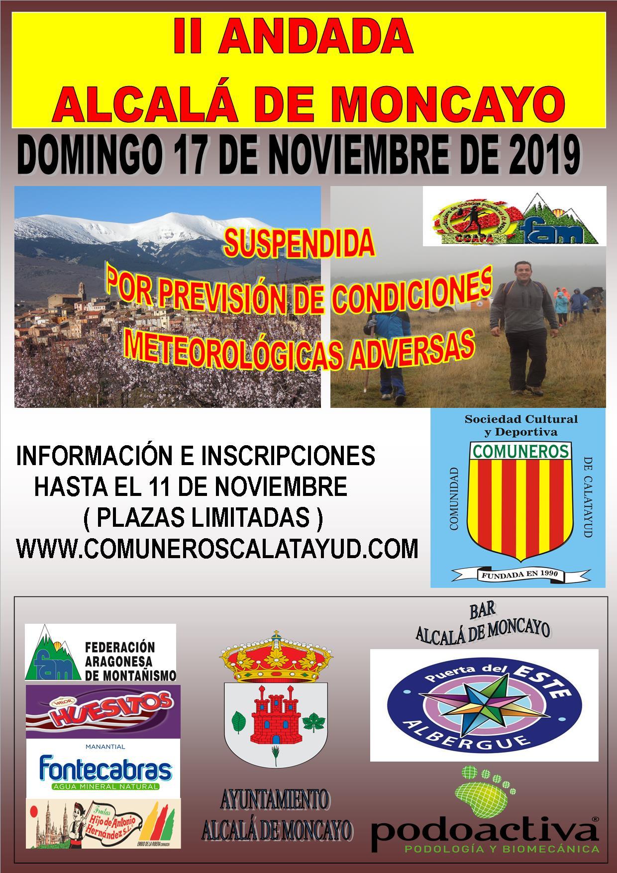 Cartel SUSPENSIÓN Andada Alcalá